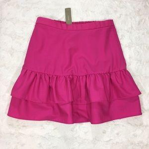 J. Crew Wool Flannel Ruffle Skirt NWT Size 4P